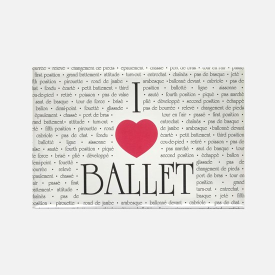 I Love Ballet Rectangle Magnet (10 pack)