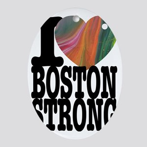 I Rainbow Heart Boston Strong Oval Ornament
