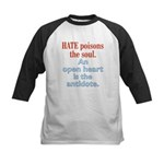 Hate Poisons the Soul Kids Baseball Jersey