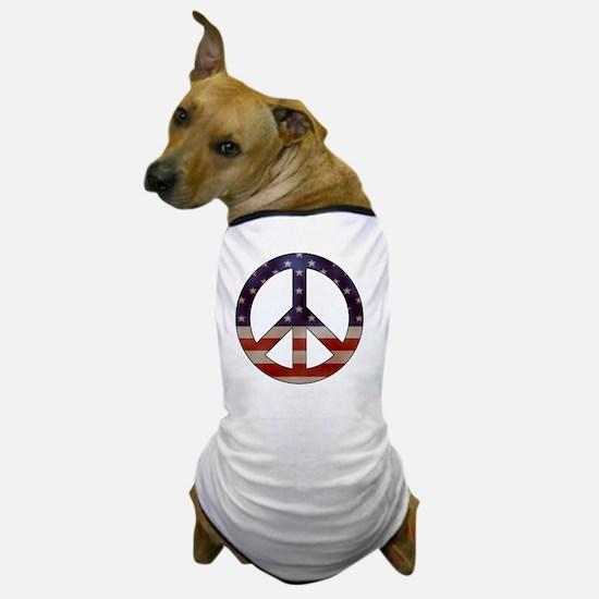 Weathered Flag Peace Sign Dog T-Shirt