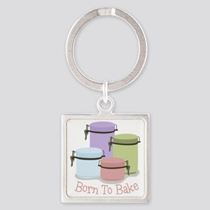 Born To Bake Square Keychain