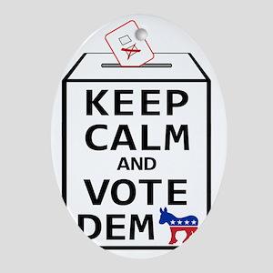 Keep Calm  Vote Democrat Oval Ornament