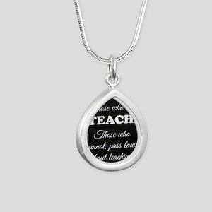 TEACHERS Silver Teardrop Necklace