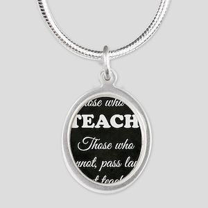 TEACHERS Silver Oval Necklace