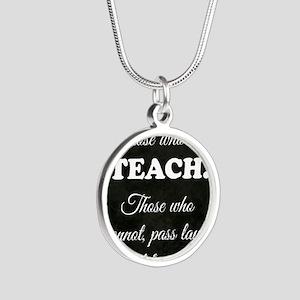 TEACHERS Silver Round Necklace