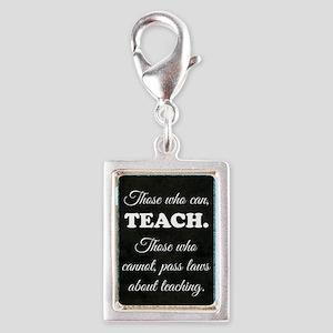 TEACHERS Silver Portrait Charm