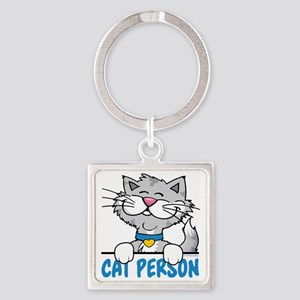 Cat Person Square Keychain