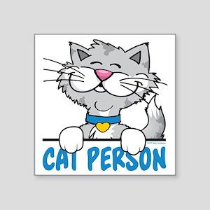 """Cat Person Square Sticker 3"""" x 3"""""""