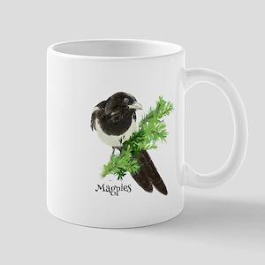 Curious watercolor Magpie Bird Nature Art Mugs