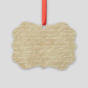 Cream Script Picture Ornament