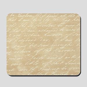 Cream Script Mousepad