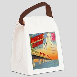 Vintage Key West Florida Postcard Canvas Lunch Bag