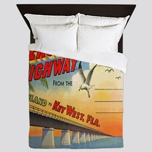 Vintage Key West Florida Postcard Queen Duvet