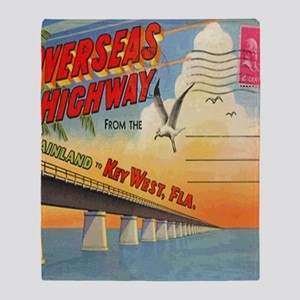Vintage Key West Florida Postcard Throw Blanket