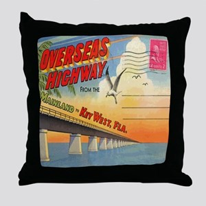 Vintage Key West Florida Postcard Throw Pillow