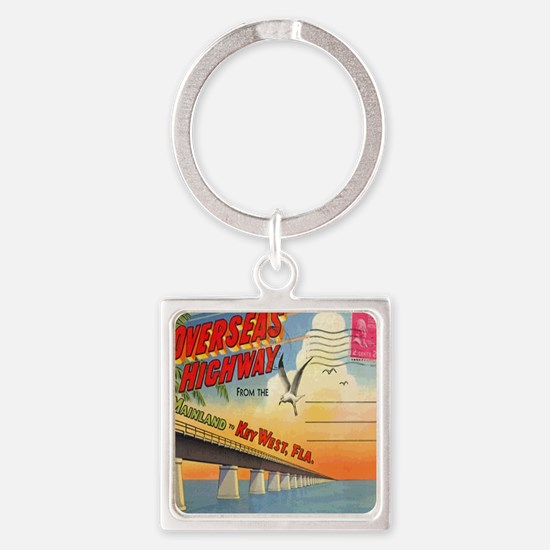 Vintage Key West Florida Postcard Square Keychain