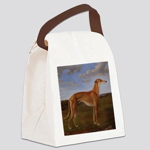 Vintage Greyhound Painting Canvas Lunch Bag