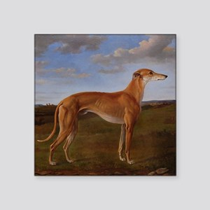 "Vintage Greyhound Painting Square Sticker 3"" x 3"""