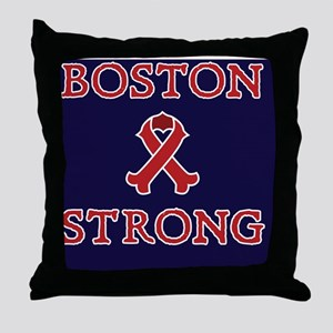Boston Strong Ribbon Throw Pillow