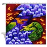 Dragonland - Green Dragons Shower Curtain