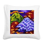 Dragonland - Green Dragons Square Canvas Pillow