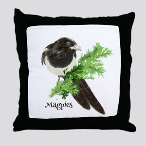 Curious watercolor Magpie Bird Nature Art Throw Pi