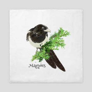 Curious Watercolor Magpie Bird Nature Art Queen Du