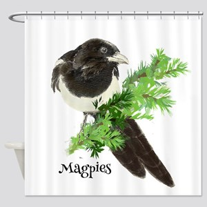 Curious watercolor Magpie Bird Nature Art Shower C