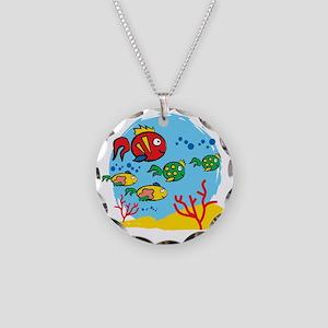 FISH AQUARIUM Necklace Circle Charm