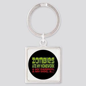 Zombies Ate Homework Square Keychain