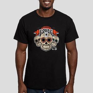 Cheststache Poker Face Men's Fitted T-Shirt (dark)
