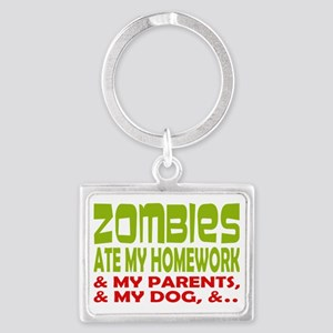 Zombie Ate Homework Landscape Keychain