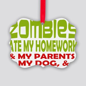 Zombie Ate Homework Picture Ornament