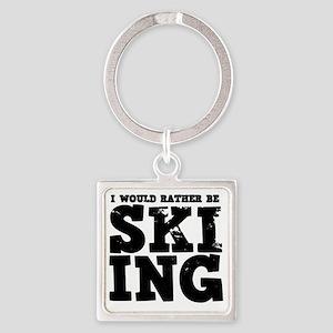 Skiing Square Keychain