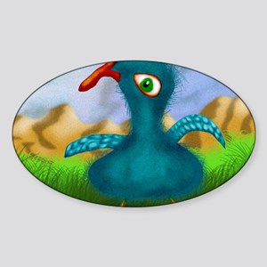 Blue Boird Of Happiness Large Print Sticker (Oval)