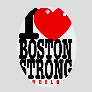 I Heart Boston Strong Barcelona Oval Ornament