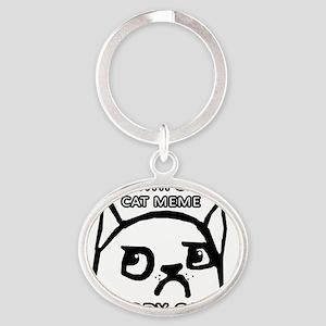 Grumpy Cat Meme Original Oval Keychain
