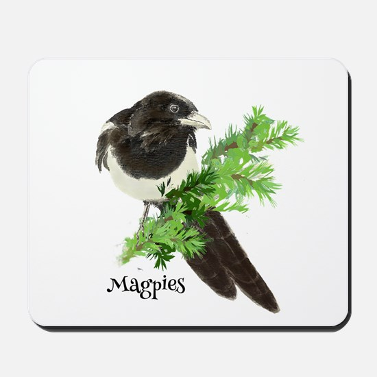 Curious watercolor Magpie Bird Nature Art Mousepad