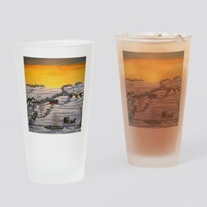 Amish Horse and Buggy Landscape Fol Drinking Glass