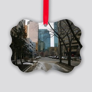Wet Street in Downtown Edmonton Picture Ornament