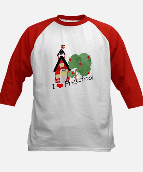 I Love Preschool Kids Baseball Jersey