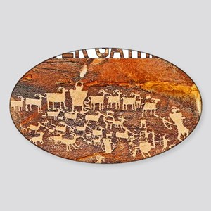 Hunter Gatherer Primitive Rock Art Sticker (Oval)