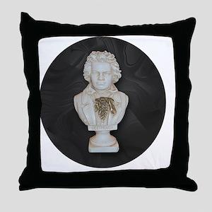 BeethovenonBlackCircle Throw Pillow