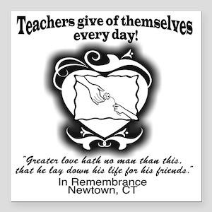 "Thank Teachers Remember  Square Car Magnet 3"" x 3"""