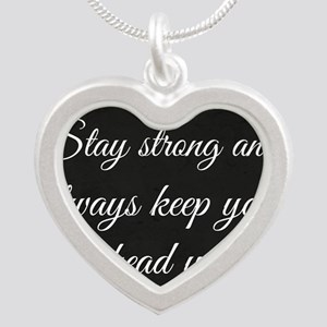 Stay Strong Silver Heart Necklace