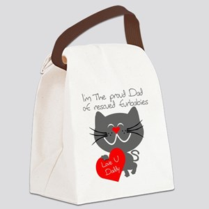 Proud dad rescued furbabies dark Canvas Lunch Bag
