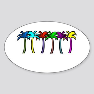 Palm Trees Oval Sticker
