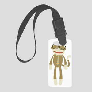 Sock monkey with Glasses Small Luggage Tag