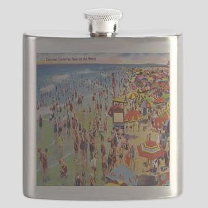 Vintage People on Beach Postcard Shower Curt Flask