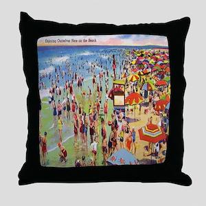 Vintage People on Beach Postcard Show Throw Pillow